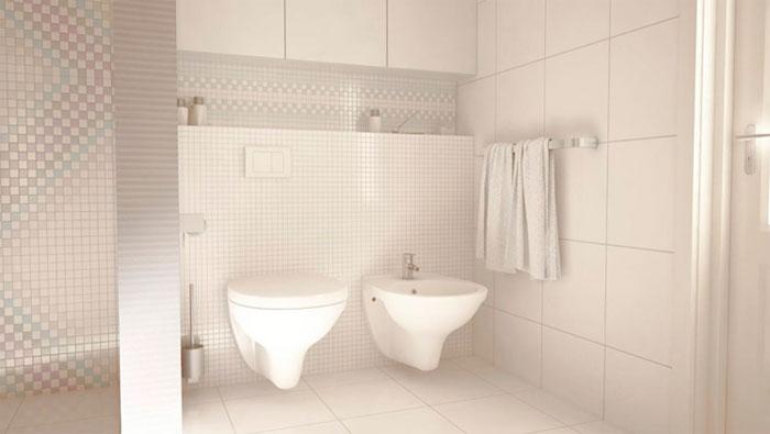 Дизайн ванной комнаты c белой плиткой от пола до потолка