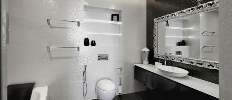 Гламурная черно-белая ванная комната – дизайн, фото