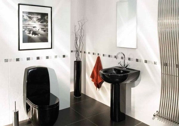 Bathrooms in black and white