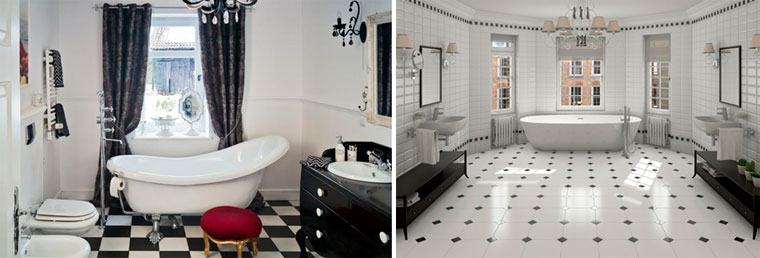 Black and white bathrooms - retro design, photo