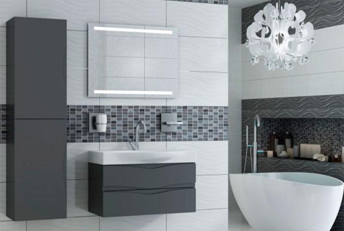 Мебель для ванной комнаты в сером