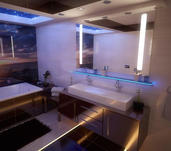 Под полку можно разместить декоративную подсветку из светодиодной ленты