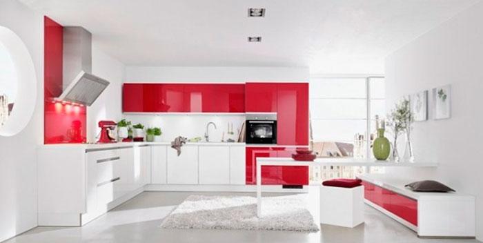 Бело-красные кухни