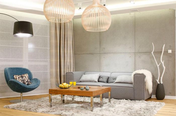 Бетонная или кирпичная стена в интерьере гостиной