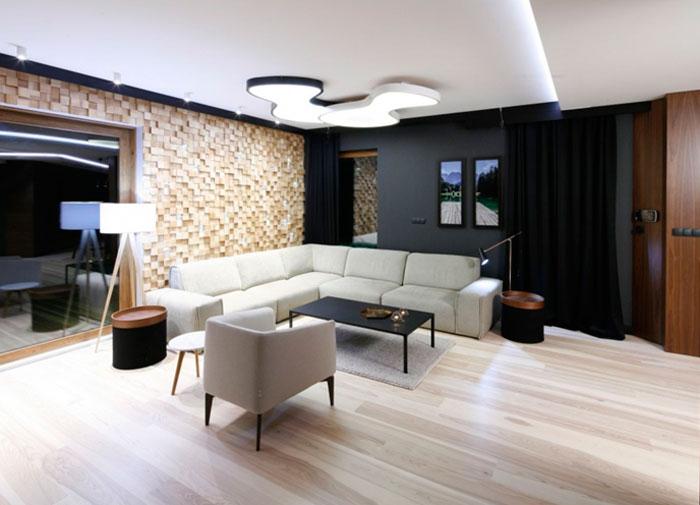 Декоративная отделка стен в гостиной вдохновленная природой