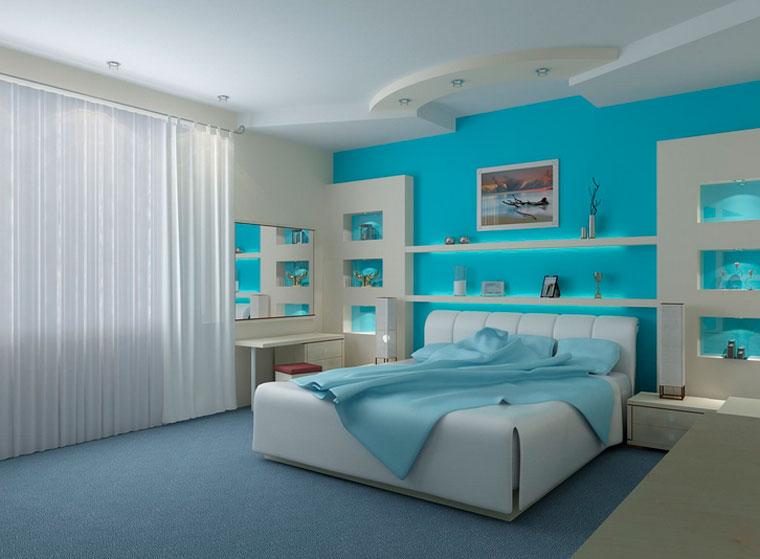 Дизайн спальни голубого цвета
