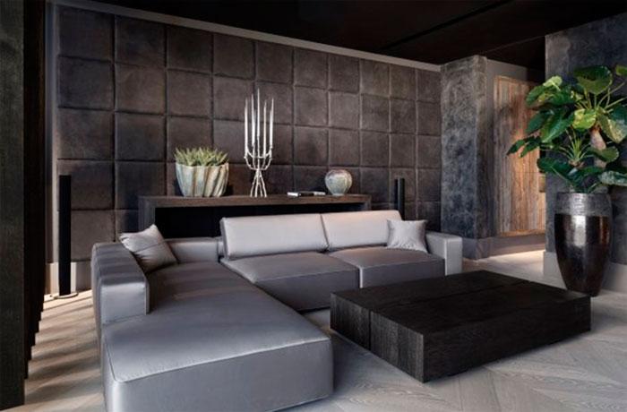 Кожаный дизайн интерьера стен в гостиной