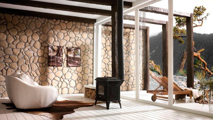 Каменная, бетонная и кирпичная стена в интерьере гостиной