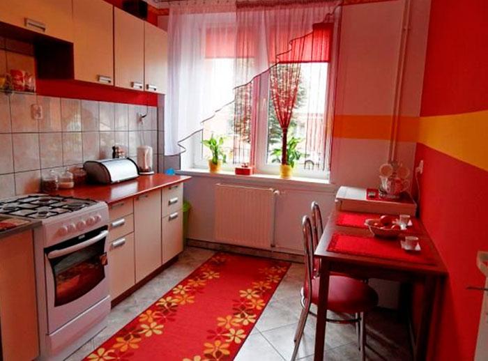 Кухня в желто красном цвете