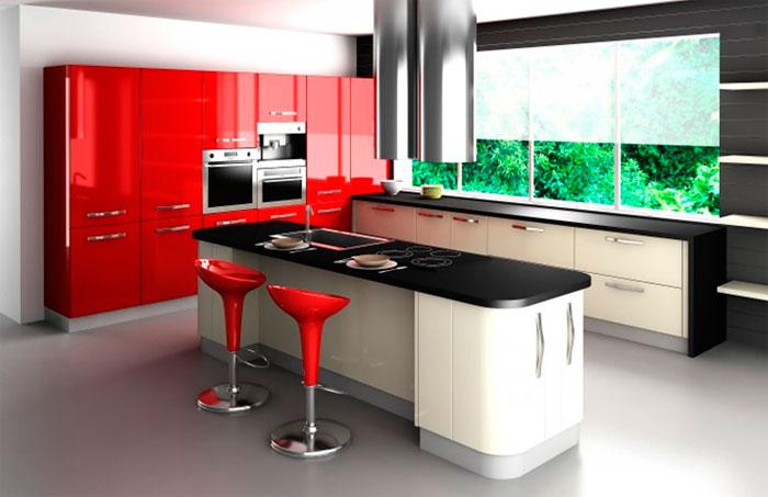 Сочетание цветов в красной кухне