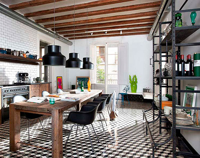 Модная кухня в стиле лофт в квартире