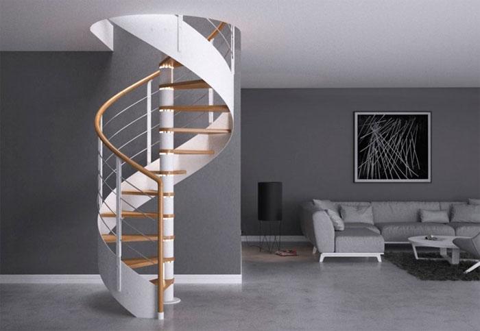 Современная лестница на второй этаж, как спиральная лента