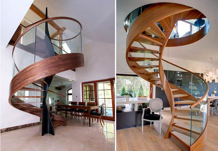 Современная винтовая лестница в доме на второй этаж