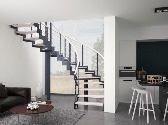 Современный интерьер лестницы в частном доме