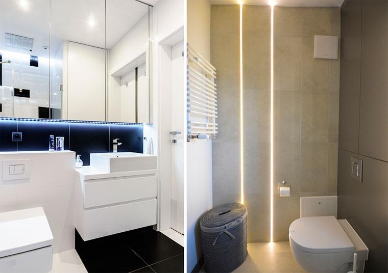Декоративное освещение в дизайне маленькой ванной комнаты