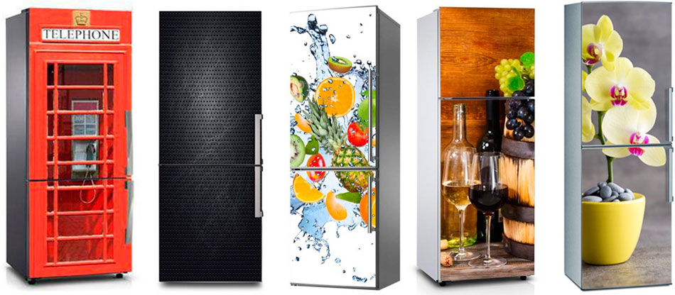 холодильник можно оклеить специальным магнитным ковриком