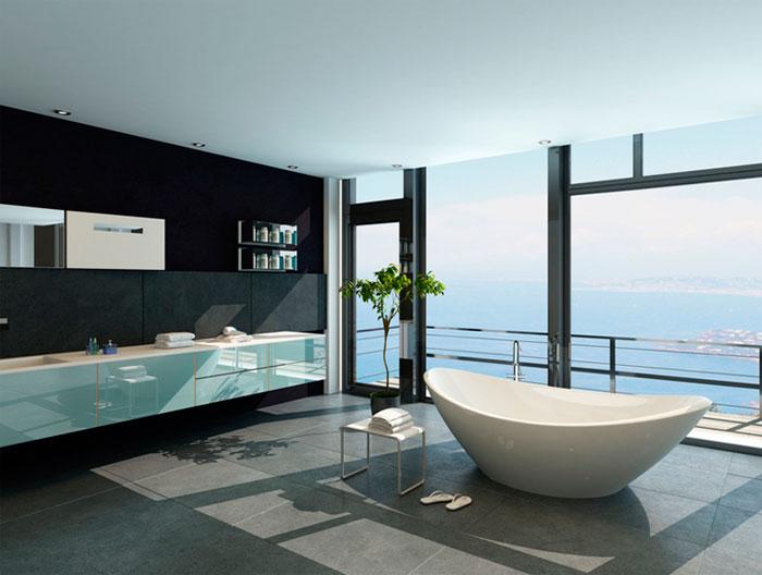Отдельно стоящая ванна в центре