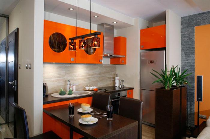 Сочетание цветов с оранжевым в интерьере кухни