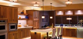 Встраиваемые подвесные светильники над столом