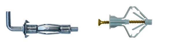 для стены из гипсокартона нужны специальные металлические или пластиковые крепления