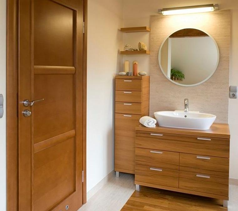 Фото. Тумба с зеркалом для ванной комнаты со шкафом в пенале