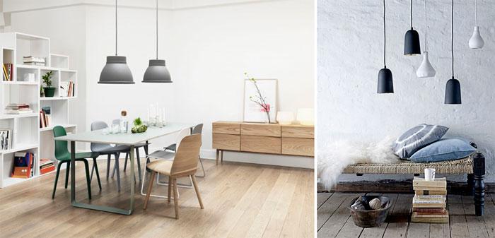 Лампы и люстры в скандинавскую гостиную