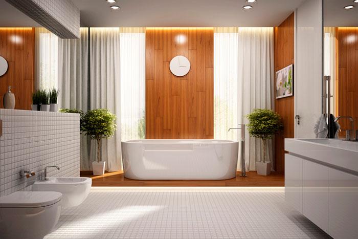 Дерево в современном интерьере ванной комнаты