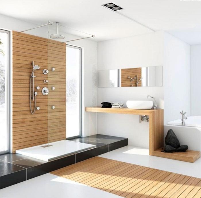 Интерьеры ванной с атмосферой покоя и релаксации