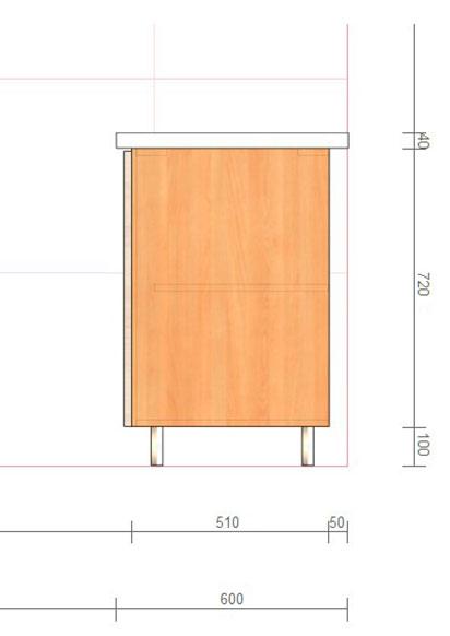Глубина нижних кухонных шкафов