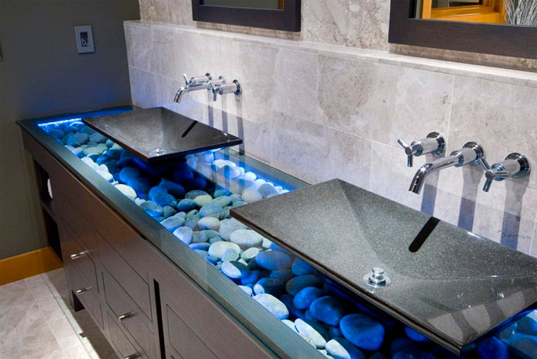 Стеклянная раковина для ванной – узоры и формы