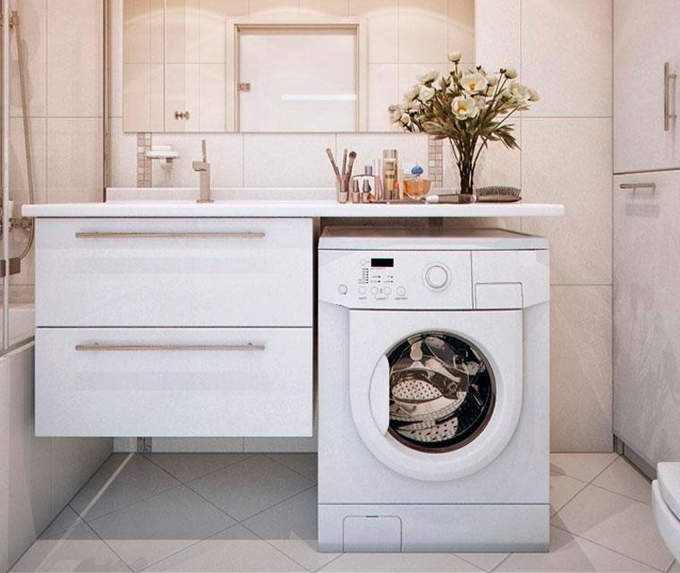 Как разместить стиральную машину в ванной комнате