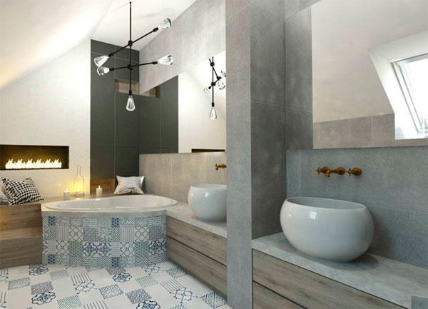 Удобный и романтичный интерьер с угловой ванной