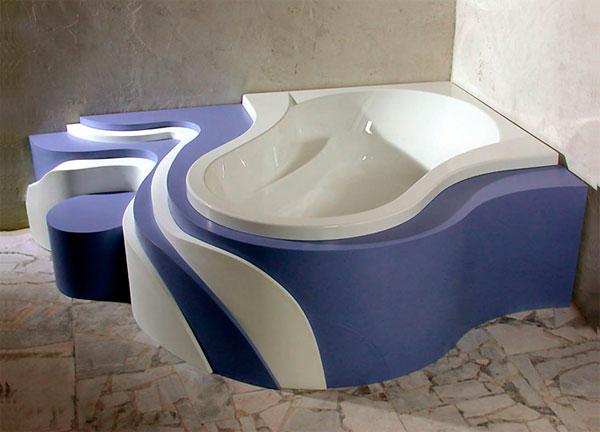 Дизайн угловой ванны с фантазией
