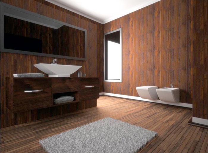 Отделка ванной деревом от пола до потолка