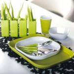 Интерьер кухни бело-зеленого цвета