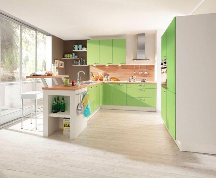 Сочетание зеленого с коричневым в интерьере кухни