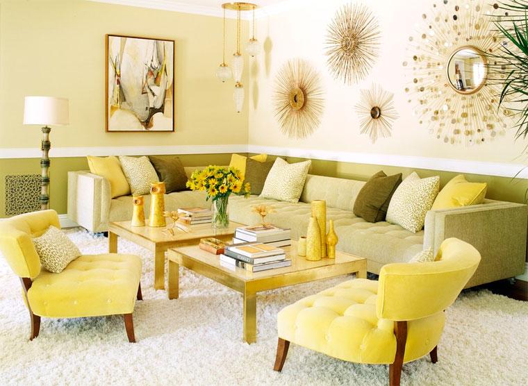 Гостиная в золотом цвете
