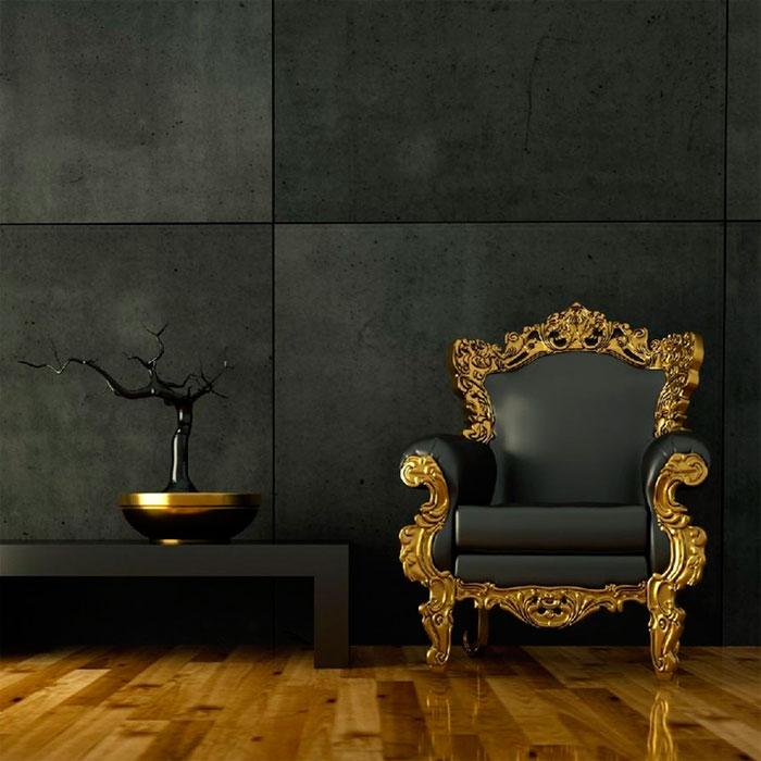 Мягкая мебель в гостиной в золотом интерьере