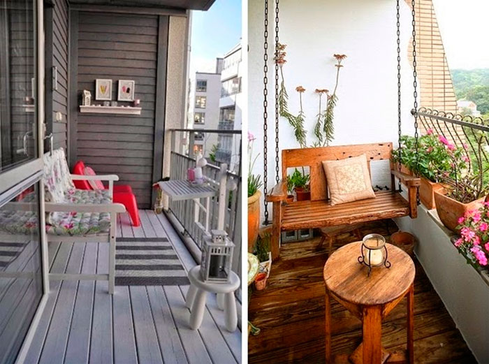 Интерьер балкона в квартире, отделка маленького балкона.