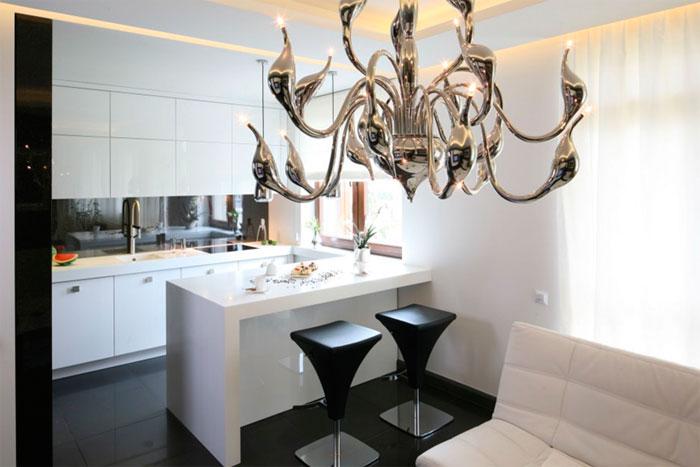 Кухонный остров в гостиной вместо перегородки