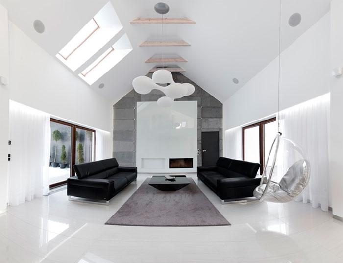 Стильный интерьер в черно-белых цветах