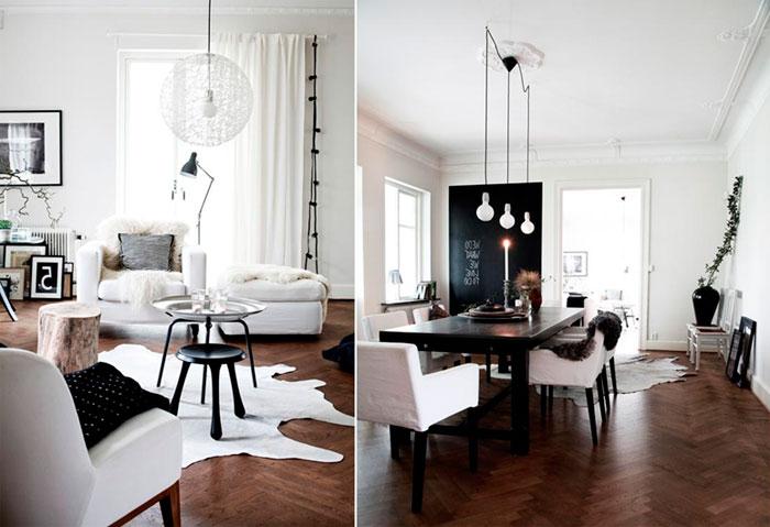 Черно-белый цвет в интерьере гостиной
