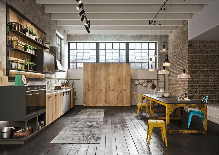 Кухня в стиле лофт с матовыми фасадами