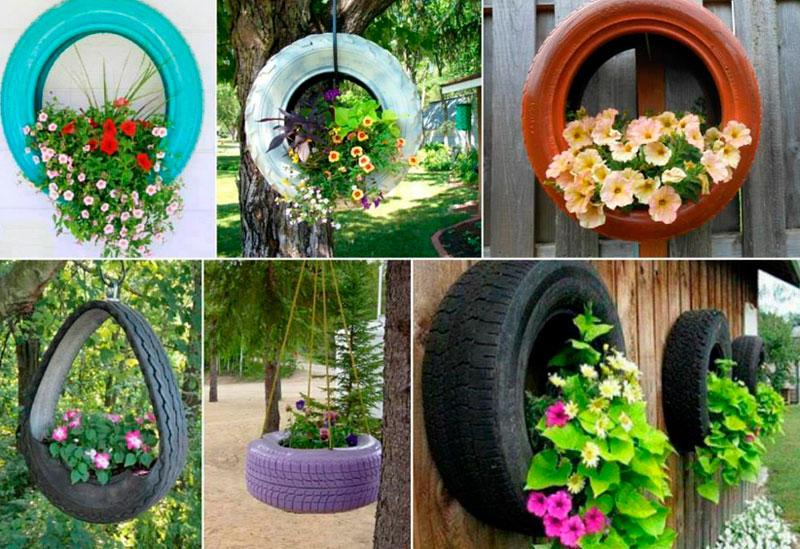 Клумбы и цветники своими руками из колес 79