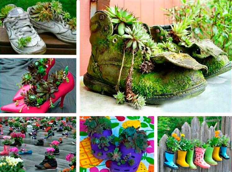 Садовые украшения из старой обуви