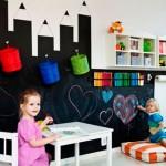 Грифельно-магнитная стена в детской комнате