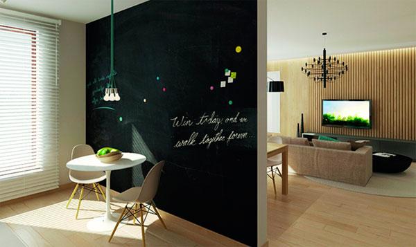 Грифельная краска и магнитная стена на кухне