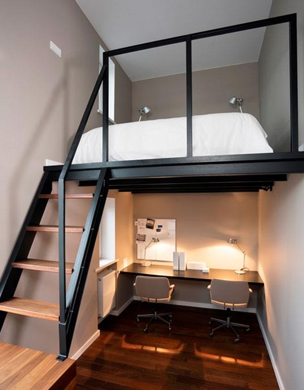 Идеи дизайна интерьера маленькой спальни в скандинавском стиле с антресолью