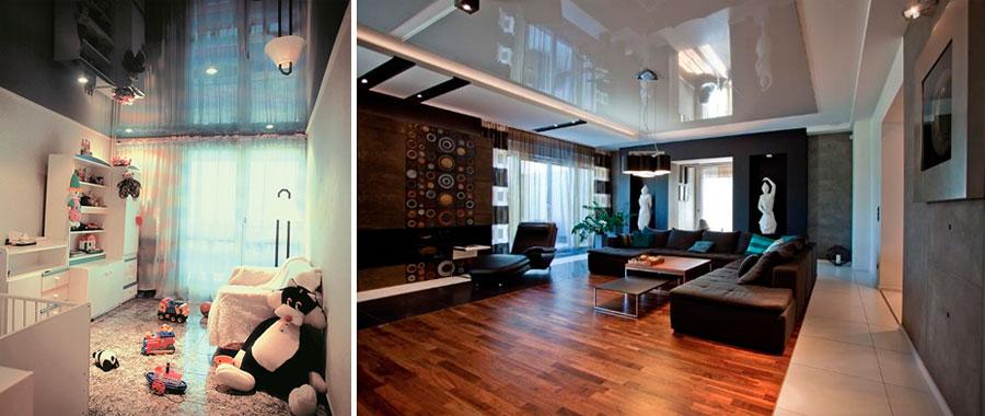 Серый зеркальный потолок
