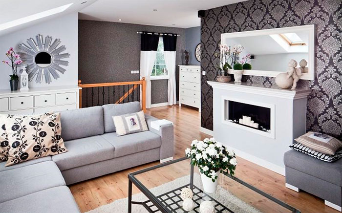 Оформление комнаты обоями двух цветов и более